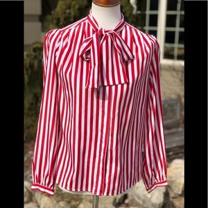 NWT deadstock vintage Esprit striped bow blouse